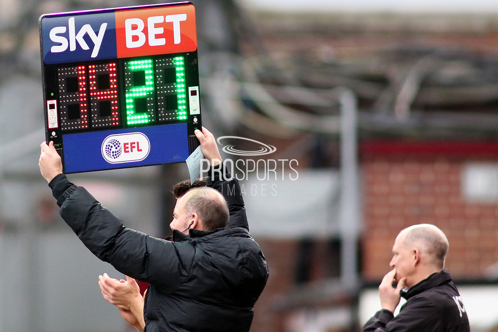 The EFL Sky Bet Substitions Board during the EFL Sky Bet League 1 match between Bradford City and Gillingham at the Northern Commercials Stadium, Bradford, England on 24 March 2018. Picture by Mick Atkins.