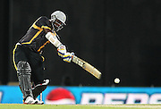 Thisara Perera of Kandurata Warriors attacks a delivery during match 5 of the Sri Lankan Premier League between Kandurata Warriors and Nagenahira Nagas held at the Premadasa Stadium in Colombo, Sri Lanka on the 13th August 2012<br />  <br /> Photo by Shaun Roy/SPORTZPICS/SLPL