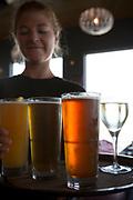 Wine and Alaskan beer at Chinooks Waterfront Restaurant, Seward, Alaska, USA<br /> <br /> Photographer: Christina Sjogren<br /> <br /> Copyright 2018, All Rights Reserved