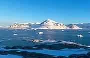 Evening view from Useful Island towards Graham Land, Antarctic Peninsula, Antarctica.