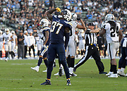 Dec 31, 2017; Carson, CA, USA; Los Angeles Chargers strong safety Jahleel Addae (37) celebrates after a fumble recovery against the Oakland Raiders during an NFL football game at StubHub Center. The Chargers defeated the Raiders 30-10.