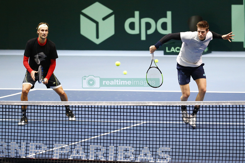 November 21, 2017 - Lille, France - LILLE, FRANCE - NOVEMBER 21 :  Joris De Loore and Ruben Bemelmans  during the training session of the Belgian Davis Cup team  before the Davis Cup World Group Final match between France and Belgium on November 21, 2017 in Lille, France, 21/11/2017. (Credit Image: © Panoramic via ZUMA Press)