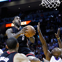 10 March 2011: Miami Heat small forward LeBron James (6) goes to the basket over Los Angeles Lakers power forward Lamar Odom (7) during the Miami Heat 94-88 victory over the Los Angeles Lakers at the AmericanAirlines Arena, Miami, Florida, USA.