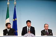 Rome sep 18th 2015, cabinet meeting press conference. In the picture Dario Franceschini, Matteo Renzi, Pier Carlo Padoan