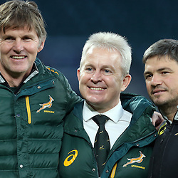 LONDON, ENGLAND - NOVEMBER 14: Dr Craig Roberts Team Doctor of South Africa with Ian Schwartz Team Manager of South Africa and Basil Carzis Conditioning Coach of South Africa during the South African National rugby team photograph and captains run at Twickenham on November 14, 2014 in London, England. (Photo by Steve Haag/Gallo Images)