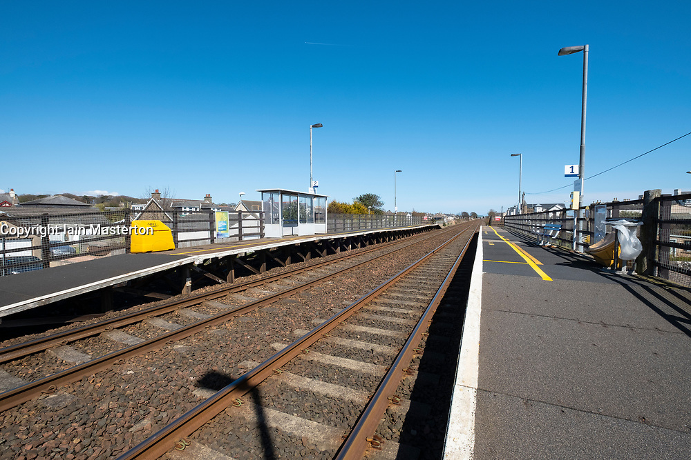 Platform at very small Golf Street railway station in Carnoustie, Scotland, Used mainly when the Open golf Championship is held at nearby Carnoustie Golf links (course), Angus, Scotland, UK.