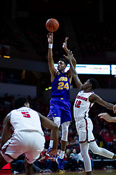 NORMAL, IL - December 31: Isaiah Brown defended by Keith Fisher III and Antonio Reeves during a college basketball game between the ISU Redbirds and the University of Northern Iowa Panthers on December 31 2019 at Redbird Arena in Normal, IL. (Photo by Alan Look)