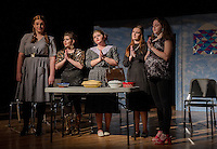 """Delightful (Taylor Gagne), Suzanne (Alana Persson), Marguerite  (Kate Persson), Lucille (Jessica McDermott) and Nadine (Emily Paronto) say a prayer for the """"Dearly Departed"""" during Wednesday afternoon's dress rehearsal with Laconia High School Drama.  (Karen Bobotas/for the Laconia Daily Sun)"""