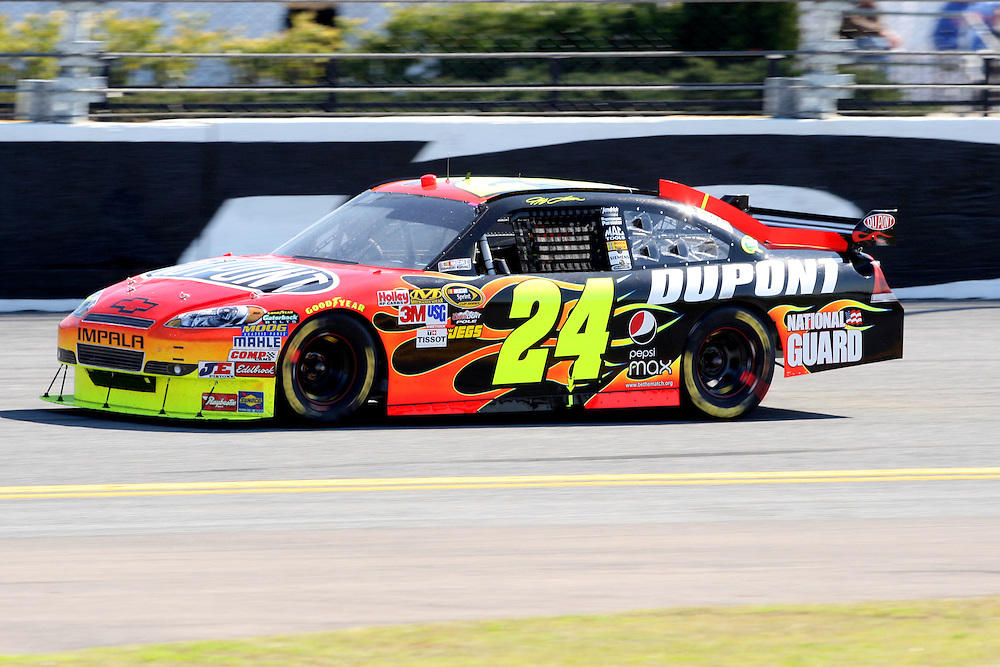 Feb. 14, 2010; Daytona Beach, FL, USA; NASCAR Sprint Cup Series driver Jeff Gordon (24) on the backstretch during the Daytona 500 at Daytona International Speedway. Mandatory Credit: Douglas Jones-