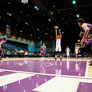 Reno Bighorns Guard MATT JONES (9) shoots a free-throw during the Western Conference Semi-Final NBA G-League Basketball game between the Reno Bighorns and the South Bay Lakers at the Reno Events Center in Reno, Nevada.