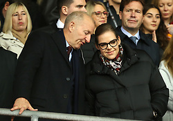 Katharina Liebherr and Ralph Krueger in the stands during the Premier League match at St Mary's Stadium, Southampton.