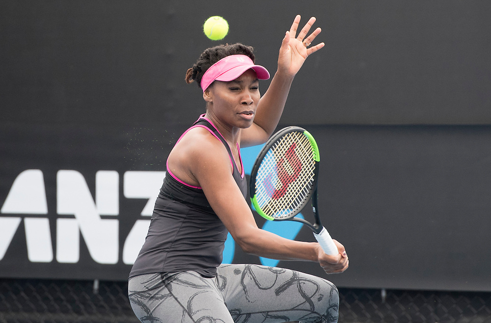 Venus Williams of the United States practices ahead of the 2017 Australian Open at Melbourne Park on January 15, 2017 in Melbourne, Australia.<br /> (Ben Solomon/Tennis Australia)