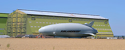 New Airlander (Bum) largest airship is pulled out of its hanger at Cardigan in Bedfordshire ready for its maiden voyage today 14th August 2016<br /> <br /> (c) Mike Capps   Edinburgh Elite media