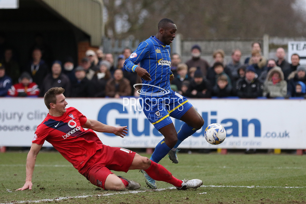 Ade Azeez of AFC Wimbledon during AFC Wimbledon and York City at the Cherry Red Records Stadium, Kingston, England on 19 March 2016. Photo by Stuart Butcher.