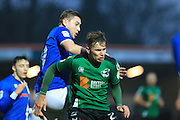 Steven Davies challenges Conor Townsend during the EFL Sky Bet League 1 match between Rochdale and Scunthorpe United at Spotland, Rochdale, England on 10 December 2016. Photo by Daniel Youngs.