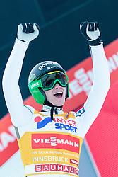 03.01.2016, Bergisel Schanze, Innsbruck, AUT, FIS Weltcup Ski Sprung, Vierschanzentournee, Bewerb, im Bild Sieger Peter Prevc (SLO) // Winner Peter Prevc of Slovenia reacts after his Competition Jump of Four Hills Tournament of FIS Ski Jumping World Cup at the Bergisel Schanze, Innsbruck, Austria on 2016/01/03. EXPA Pictures © 2016, PhotoCredit: EXPA/ JFK