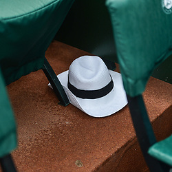 An abandoned hat at the end of play during Day 11 of the French Open 2018 on June 6, 2018 in Paris, France. (Photo by Dave Winter/Icon Sport)