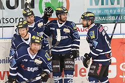12.04.2015, Saturn Arena, Ingolstadt, GER, DEL, ERC Ingolstadt vs Adler Mannheim, Playoff, Finale, 2. Spiel, im Bild Jubel nach dem Treffer durch Jared Ross (Nr, ERC Ingolstadt) zum 3:1 - von links Benedikt Kohl (Nr.34, ERC Ingolstadt), Patrick Hager (Nr.52, ERC Ingolstadt), Jared Ross (Nr, ERC Ingolstadt), Brendan Brooks (Nr.49, ERC Ingolstadt) und Michel Periard (Nr.6, ERC Ingolstadt) // during Germans DEL Icehockey League 2nd final match between ERC Ingolstadt and Adler Mannheim at the Saturn Arena in Ingolstadt, Germany on 2015/04/12. EXPA Pictures © 2015, PhotoCredit: EXPA/ Eibner-Pressefoto/ Strisch<br /> <br /> *****ATTENTION - OUT of GER*****