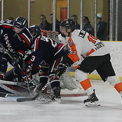 COCHRANE, ON - MAY 3: Players battle for position in front of the net during the first period on May 3, 2019 at Tim Horton Events Centre in Cochrane, Ontario, Canada.<br /> (Photo by Tim Bates / OJHL Images)