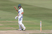50 Neil Dexter acknowledges the crowd on moving to 50 during the Specsavers County Champ Div 2 match between Gloucestershire County Cricket Club and Leicestershire County Cricket Club at the Cheltenham College Ground, Cheltenham, United Kingdom on 15 July 2019.