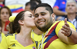 KAZAN, June 24, 2018  Fans of Colombia are seen prior to the 2018 FIFA World Cup Group H match between Poland and Colombia in Kazan, Russia, June 24, 2018. (Credit Image: © He Canling/Xinhua via ZUMA Wire)