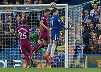 Football - 2017 / 2018 Premier League - Chelsea vs Manchester City<br /> <br /> Alvaro Morata (Chelsea FC)  beats John Stones (Manchester City) to the header  at Stamford Bridge <br /> <br /> COLORSPORT/DANIEL BEARHAM