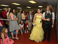 Megan Accornero and Antony Hawk during Laconia High School's Junior Prom March at the Opechee Conference Center Friday evening.  (Karen Bobotas/for the Laconia Daily Sun)