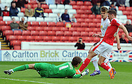 Conor Hourihane of Barnsley is denied by Ben Garratt goalkeeper of Crewe Alexandra during the Sky Bet League 1 match at Oakwell, Barnsley<br /> Picture by Graham Crowther/Focus Images Ltd +44 7763 140036<br /> 10/10/2015