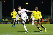 Fulham defender Scott Malone (3) miss-kicks a clearance as Burton Albion striker Lucas Akins (10) looks for the ball during the EFL Sky Bet Championship match between Burton Albion and Fulham at the Pirelli Stadium, Burton upon Trent, England on 1st February 2017. Photo by Richard Holmes.