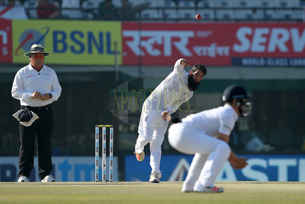 Moeen Ali of England bowls during day 3 of the third test match between India and England held at the Punjab Cricket Association IS Bindra Stadium, Mohali on the 28th November 2016.Photo by: Prashant Bhoot/ BCCI/ SPORTZPICS