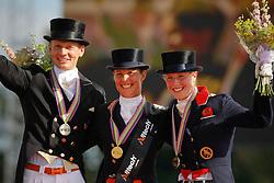 Podium Grand Prix Special<br /> 1. Cornelissen Adelinde<br /> 2. Gal Edward<br /> 3. Bechtolsheimer Laura<br /> European Championship Dressage Windsor 2009<br /> © Hippo Foto - Dirk Caremans