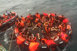 July 5, 2018 - Phuket, Thailand - Rescued tourists are seen on life rafts near the island of Phuket, Thailand. Until 8:30 p.m. local time (1330 GMT) Thursday, the majority of 133 passengers on two boats overturned by rough seas in southern Thailand were saved, but the Thai authority cannot confirm all of them are saved now, said Chinese Consulate-General in Songkhla on Thursday.  (Credit Image: © Xinhua via ZUMA Wire)