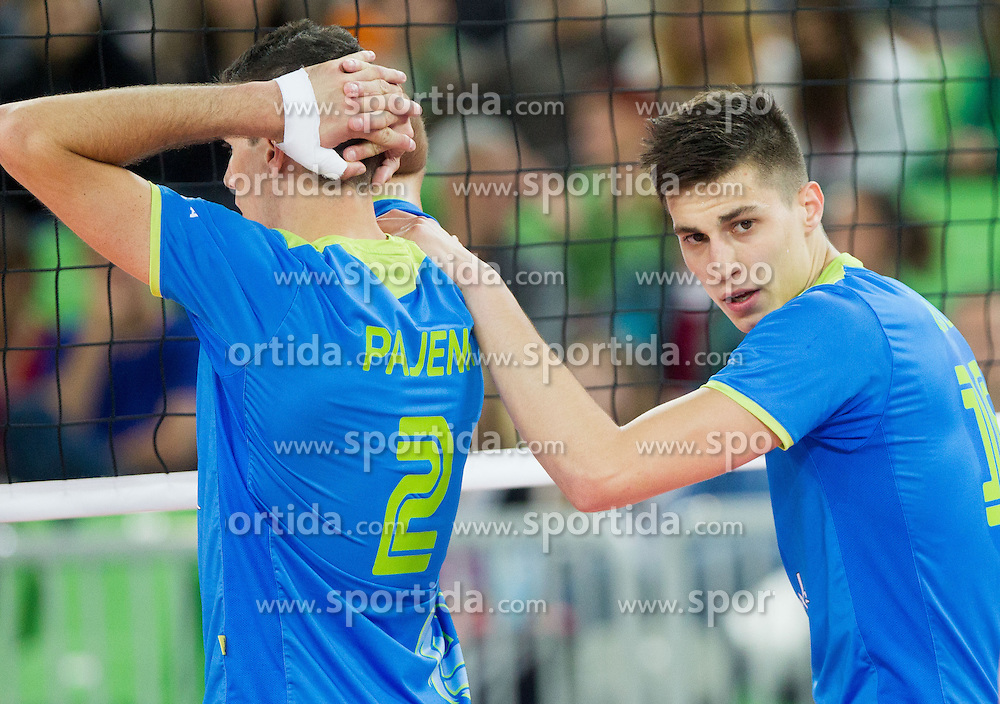 Alen Pajenk #2 of Slovenia and Klemen Cebulj #18 of Slovenia during qualifications match of FIVB Men's Volleyball World Championship 2014 between National teams of Slovenia and Israel in pool B on May 25, 2013 in Arena Stozice, Ljubljana, Slovenia. Slovenia defeated Hungary 3-0. (Photo By Vid Ponikvar / Sportida)
