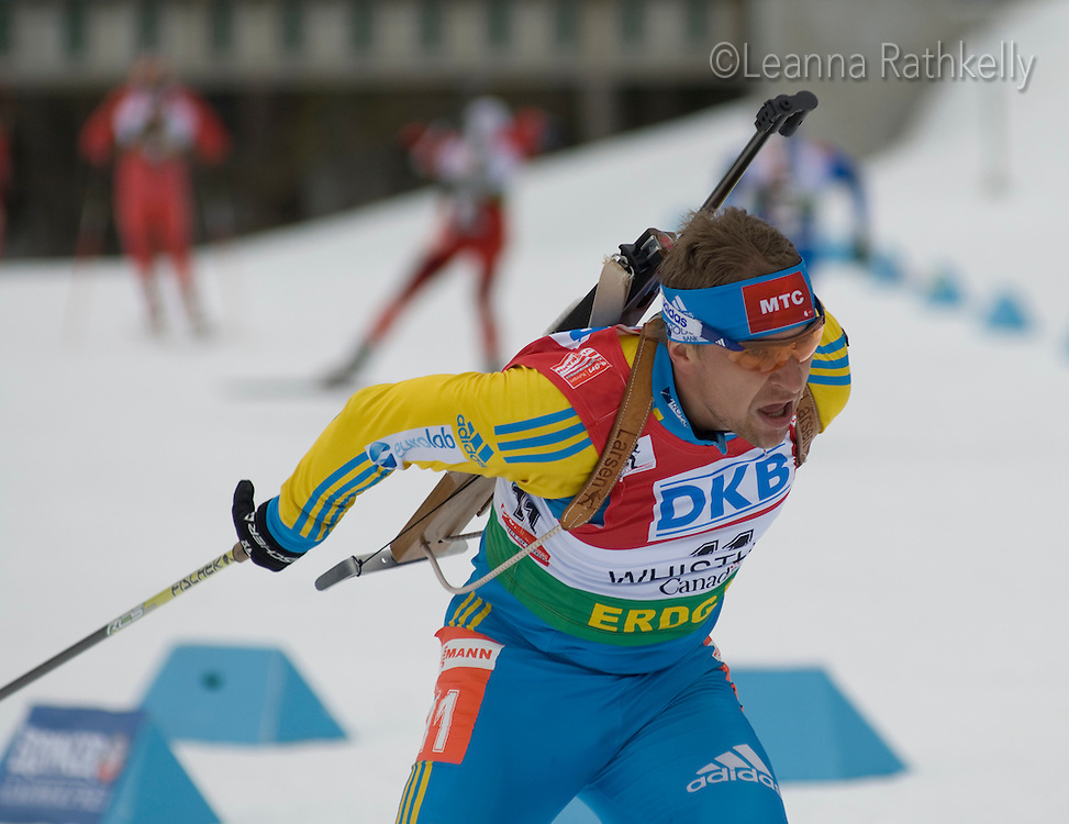 Olexander Bilanenko (UKR) competes in the World Cup Biathlon men's Sprint Competition on March 13, 2009