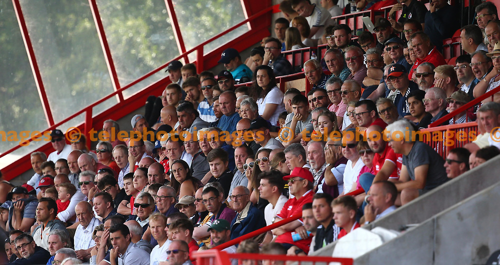 Fans seen during the pre season friendly between Crawley Town and KSV Roeselare at The Broadfield Stadium, Crawley , UK. 28 July 2018.