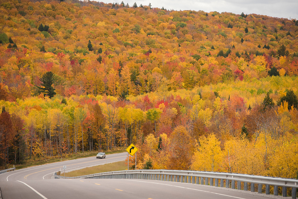 Fall color drive along Country Road 510 near Big Bay, Michigan.