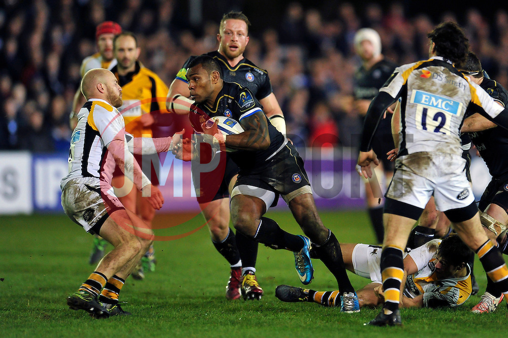 Semesa Rokoduguni of Bath Rugby takes on the Wasps defence - Mandatory byline: Patrick Khachfe/JMP - 07966 386802 - 19/12/2015 - RUGBY UNION - The Recreation Ground - Bath, England - Bath Rugby v Wasps - European Rugby Champions Cup.