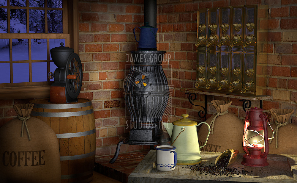 Interior of a coffee shop or factory showing coffee paraphernalia including; a coffee grinder, coffee beans, pot belly stove, coffee scoop, coffee beans, burlap bags, a wooden barrel, coffee pot, coffee silos