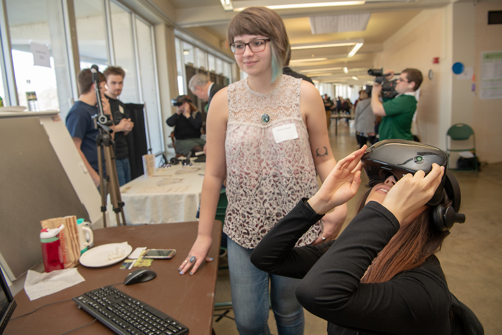 Andrea Swart (Top) presents her VR work at the Student Expo. Photo by Ben Siegel