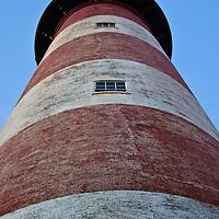 Assateague Lighthouse (rebuilt 1866) as seen from below at sunrise, Chincoteague National Wildlife Refuge, Assateague Island, Virginia.