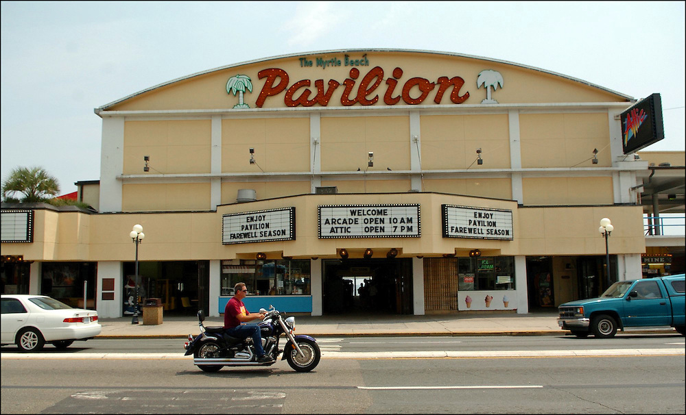 Myrtle Beach, SC-.Traffic passes the The Pavilion building in Myrtle Beach, S.C. The Myrtle Beach Pavilion will close at the end of this season.