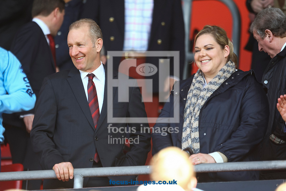Southampton chairman Ralph Krueger and Southampton director Katharina Liebherr during the Barclays Premier League match at the St Mary's Stadium, Southampton<br /> Picture by Daniel Chesterton/Focus Images Ltd +44 7966 018899<br /> 15/03/2014