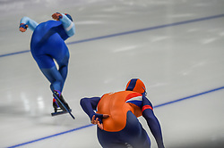 February 23, 2018 - Pyeongchang, Gangwon, South Korea - Havard Lorentzen of  Norway and Koen Verweij of  Netherlands at 1000 meter speedskating at winter olympics, Gangneung South Korea on February 23, 2018. (Credit Image: © Ulrik Pedersen/NurPhoto via ZUMA Press)