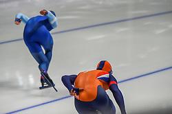 February 23, 2018 - Pyeongchang, Gangwon, South Korea - Havard Lorentzen of Norway and Koen Verweij of Netherlands at 1000 meter speedskating at winter olympics, Gangneung South Korea on February 23, 2018. (Credit Image: © Ulrik Pedersen/NurPhoto via ZUMA Press)