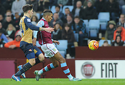 Hector Bellerin of Arsenal closes down Scott Sinclair of Aston Villa - Mandatory byline: Dougie Allward/JMP - 13/12/2015 - Football - Villa Park - Birmingham, England - Aston Villa v Arsenal - Barclays Premier League
