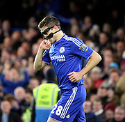 Chelsea defender Cesar Azpilcueta celebrating scoring first goal of the game during the Barclays Premier League match between Chelsea and West Bromwich Albion at Stamford Bridge, London, England on 13 January 2016. Photo by Matthew Redman.