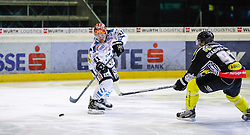 15.09.2013, Messestadion, Dornbirn, AUT, EBEL, Dornbirner EC vs EHC Liwest Black Wings Linz, 6. Runde, im Bild Curtis Murphy, (EHC Liwest Black Wings Linz, #41) und Martin Grabher Meier, (Dornbirner EC, #91)// during the Erste Bank Icehockey League 6th round match between Dornbirner EC and EHC Liwest Black Wings Linz the Exhibition Stadium, Dornbirn, Austria on 2013/09/15, EXPA Pictures © 2013, PhotoCredit: EXPA/ Peter Rinderer