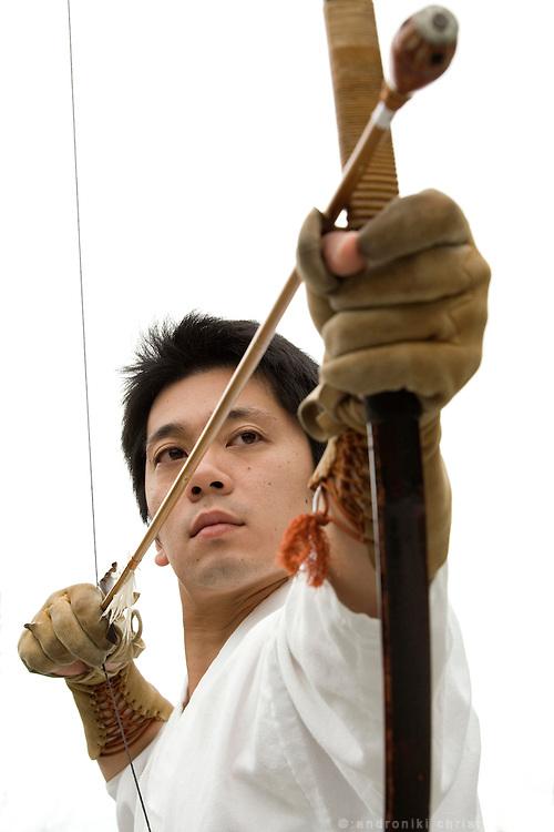 Kiyomoto Ogasawara, during trainning in Yabusame(equastian archery) and Kyudo (archery)