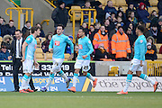 Derby County striker Chris Martin celebrates goal during the Sky Bet Championship match between Wolverhampton Wanderers and Derby County at Molineux, Wolverhampton, England on 27 February 2016. Photo by Alan Franklin.