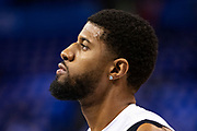 OKLAHOMA CITY, OK - APRIL 21: Paul George #13 of the Oklahoma City Thunder warms up before a game against the Portland Trail Blazers during Round One Game Three of the 2019 NBA Playoffs on April 21, 2019 at Chesapeake Energy Arena in Oklahoma City, Oklahoma  NOTE TO USER: User expressly acknowledges and agrees that, by downloading and or using this photograph, User is consenting to the terms and conditions of the Getty Images License Agreement.  The Trail Blazers defeated the Thunder 111-98.  (Photo by Wesley Hitt/Getty Images) *** Local Caption *** Paul George